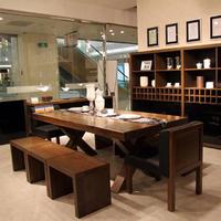 实木长方形餐桌椅组合北欧简约原木咖啡长桌书桌复古做旧美式家具