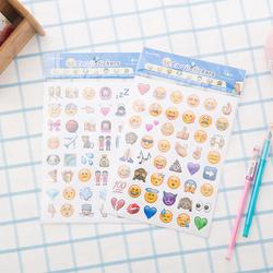 韩国4张手账贴纸 可爱日记192个表情手机贴画 diy创意emoji相册贴