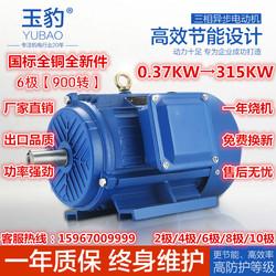 三相异步电动机6极0.75/1.1/1.5/2.2/3/4/5.5/7.5KW交流380V马达