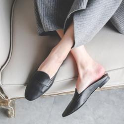 青衣自制穆勒鞋女真皮毛半拖鞋包头无后跟懒人鞋平底鞋舒适牛皮