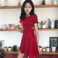 韩国chic风复古小心机性感镂空显瘦系带小黑裙夏季修身短袖连衣裙