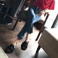 chic拖鞋女夏外穿时尚韩版平底一字拖2018新款港风厚底百搭凉拖女