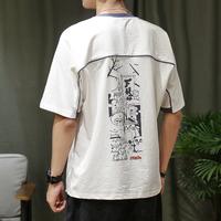夏季日系印花五分袖男短袖T恤潮流拼色打底衫宽松oversize半袖男t