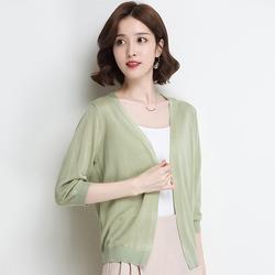 2018夏季新款韩版纯色针织衫女短款薄款小外套气质七分袖开衫披肩