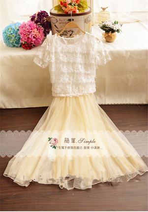 2017青少年少女夏季短袖衬衫背心裙两件套装中学生公主蓬蓬连衣裙