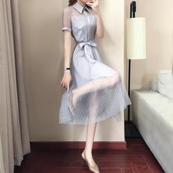 雪纺衬衫连衣裙女夏2018秋装新款初恋裙复古小清新心机裙子设计感