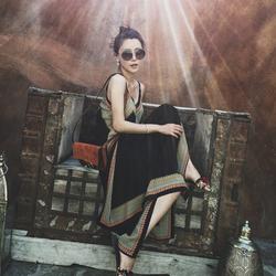 波西米亚长裙沙滩裙女夏2018新款吊带连衣裙泰国旅游海边度假裙子