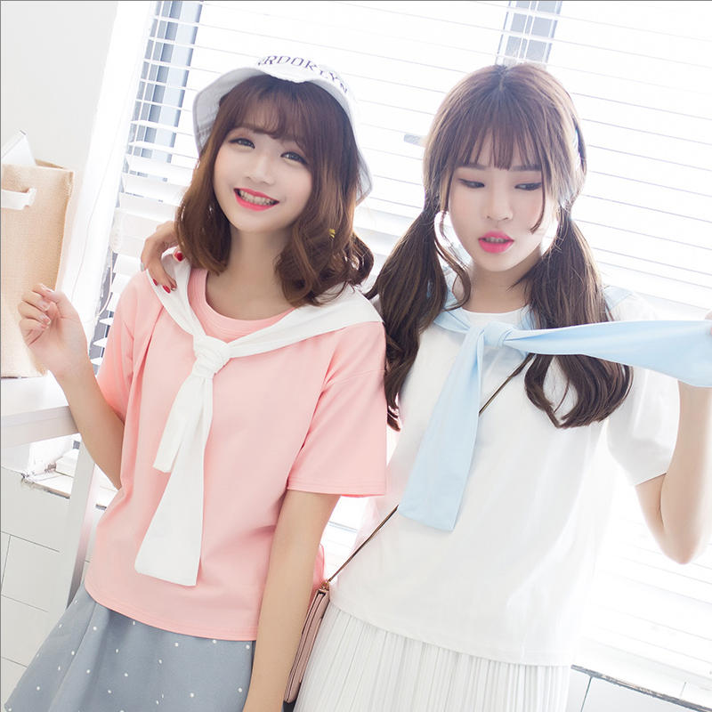 韩国东大门刺绣字母三人闺蜜装夏季短袖t恤女夏白色宽松bf文艺范