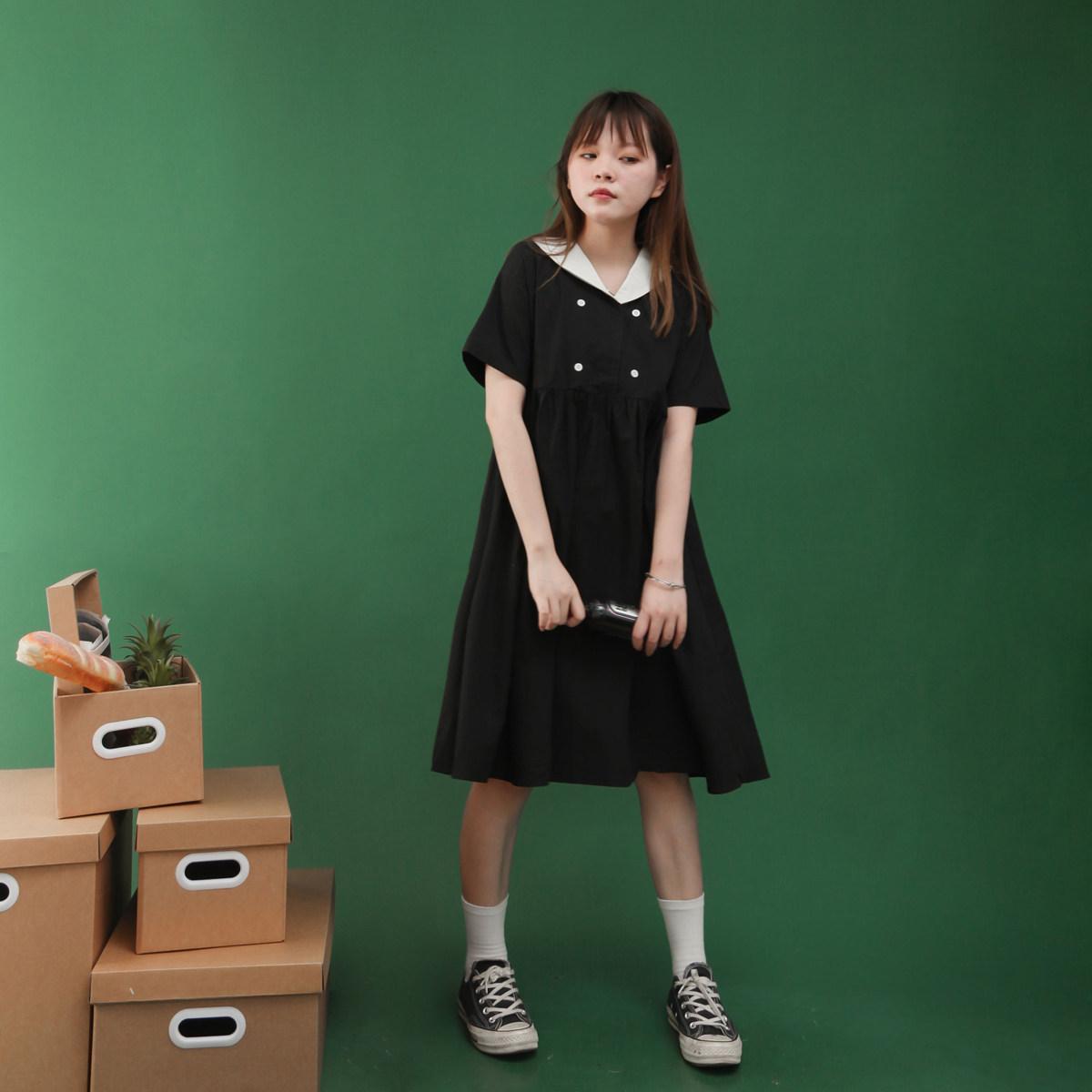 黑色赫本风桔梗小清新连衣裙女夏学生长款裙子夏季森系2020年新款