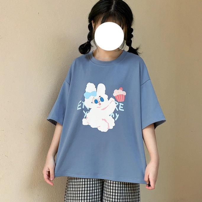 安可原创 甜点兔 夏季新款宽松纯色套头女装卡通短袖T恤