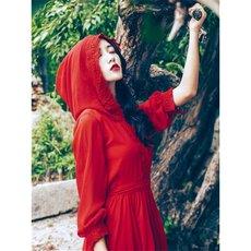2020春夏新款女装长袖雪纺红色连衣裙夏天旅游衣服女沙漠长裙大摆