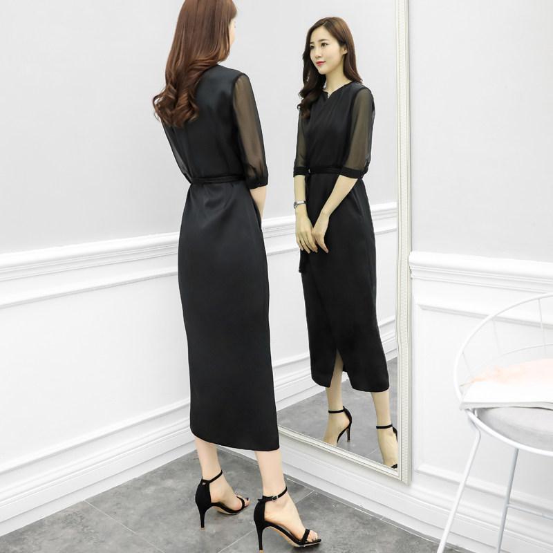 2020夏装时尚新款黑色雪纺连衣裙女气质名媛开叉中长裙子包臀裙潮