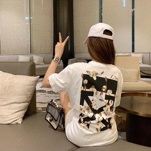 香港木棉花印花短袖女纯棉宽松男女情侣T恤超火网红款上衣图片