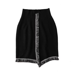 欧丽正2019秋冬款显廋黑色高腰针织半身裙a字裙短裙性感包臀裙子