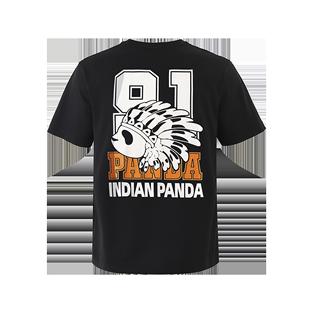神奈印第安熊猫INDIAN PANDA酋长潮牌短袖T恤男款休闲卡通字母ins