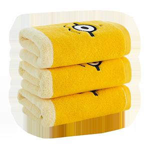 洁丽雅 兰小黄人纯棉儿童毛巾成人全棉洗脸柔软吸水面巾三条礼盒