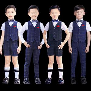 儿童礼服男套装男孩小主持人服装花童钢琴演出服男童英伦风西装夏