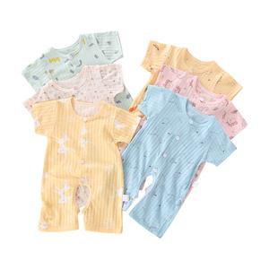 夏季纯棉婴儿连体衣薄款开裆0-3-6-9-12个月宝宝短袖哈衣爬爬服