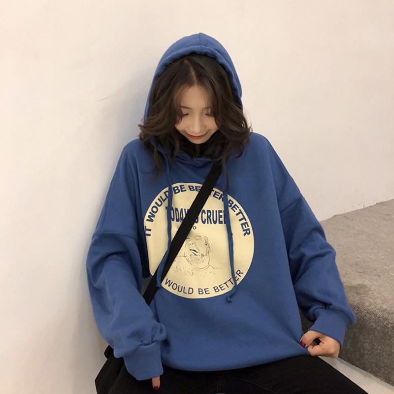 秋季上衣2019新款韩版宽松洋气中长款连帽卫衣女ins套头长袖外套