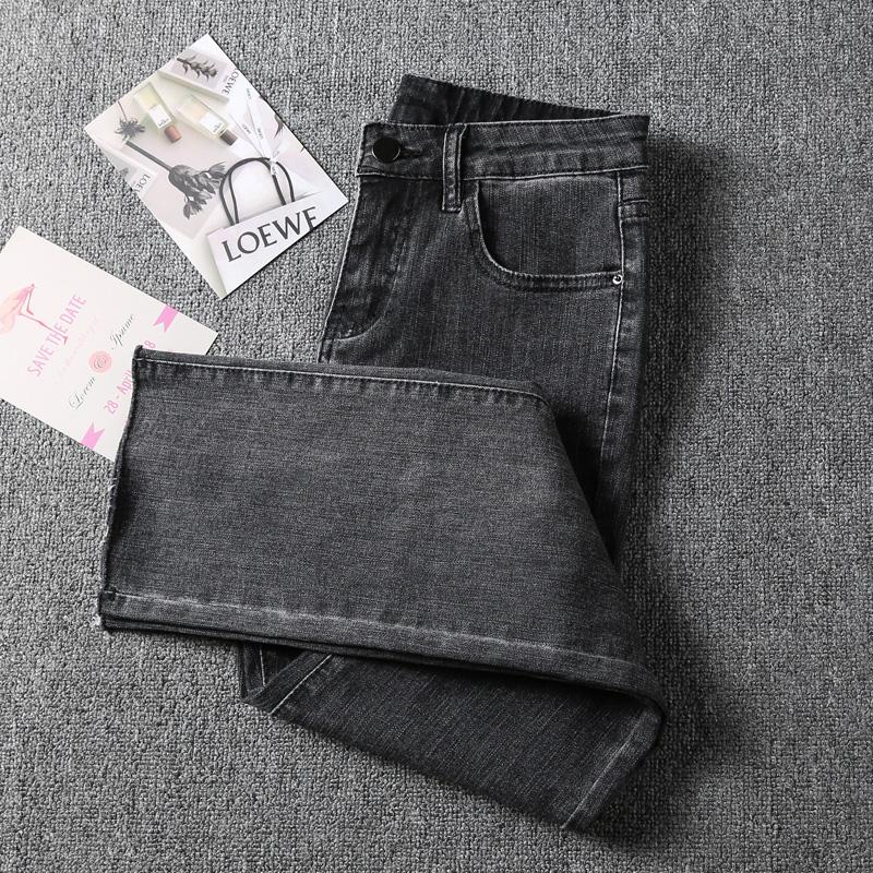 八分牛仔裤女高腰小个子烟灰色155显瘦显高加绒宽松九分直筒裤潮