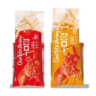 【李佳琦推荐 拍3份收9包】喜盈盈一口虾虾酥条 休闲零食80g*3包
