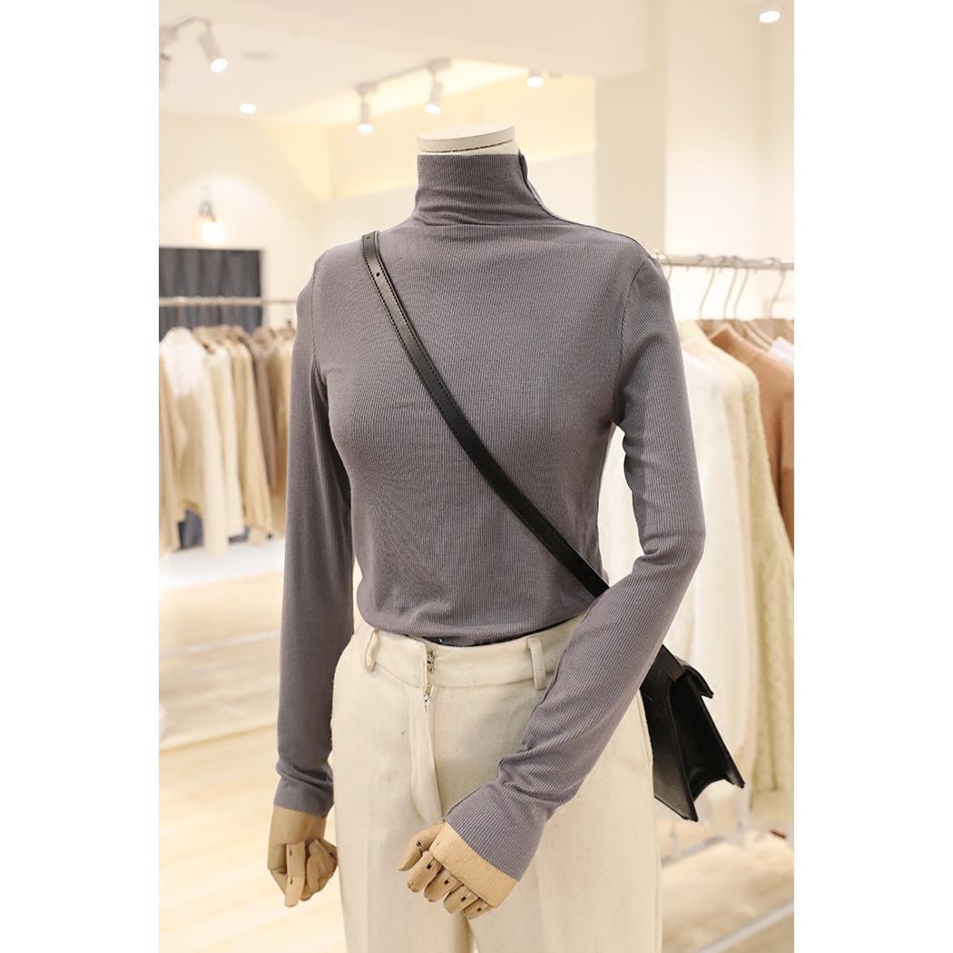 YellowPlus秋冬新款 莫兰迪色紧身修身高领套头针织打底衫女长袖