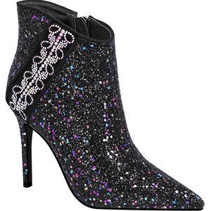 秋款单跟鞋2018新款百搭尖头时尚高跟靴子女性感细跟短靴冬天女靴
