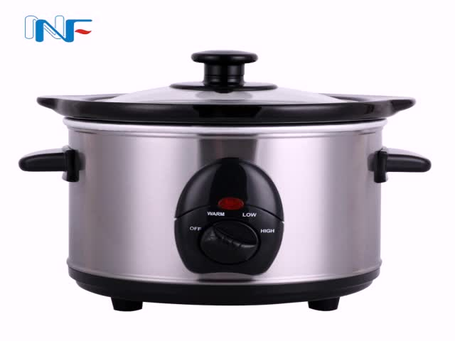 1.5L Portable Electric Crock Pot Slow Cooker Stainless Steel