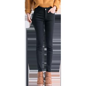 加绒打底裤女外穿2018冬季高腰显瘦黑色紧身加厚小脚裤子保暖棉裤