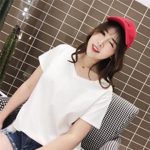 韩范18夏季新款胖mm简约短袖T恤V领学生休闲打底衫200斤大码女装