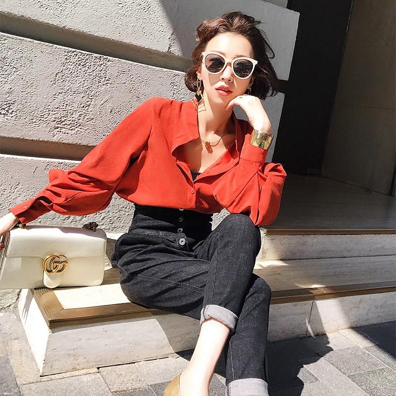 YUMI衬衫女装韩版纯色2017新款长袖小立领开衫宽松立领衬衣上衣服