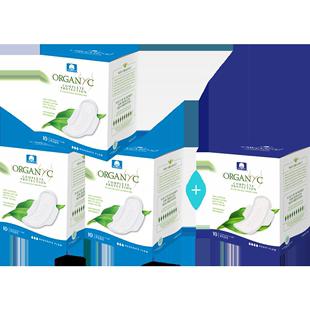 【买3赠1】Organyc欧然尼卫生棉巾100%有机全纯棉芯日夜用40片