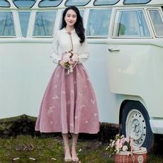 2018新款女装春装娃娃领文艺复古连衣裙学生少女修身超仙女裙子