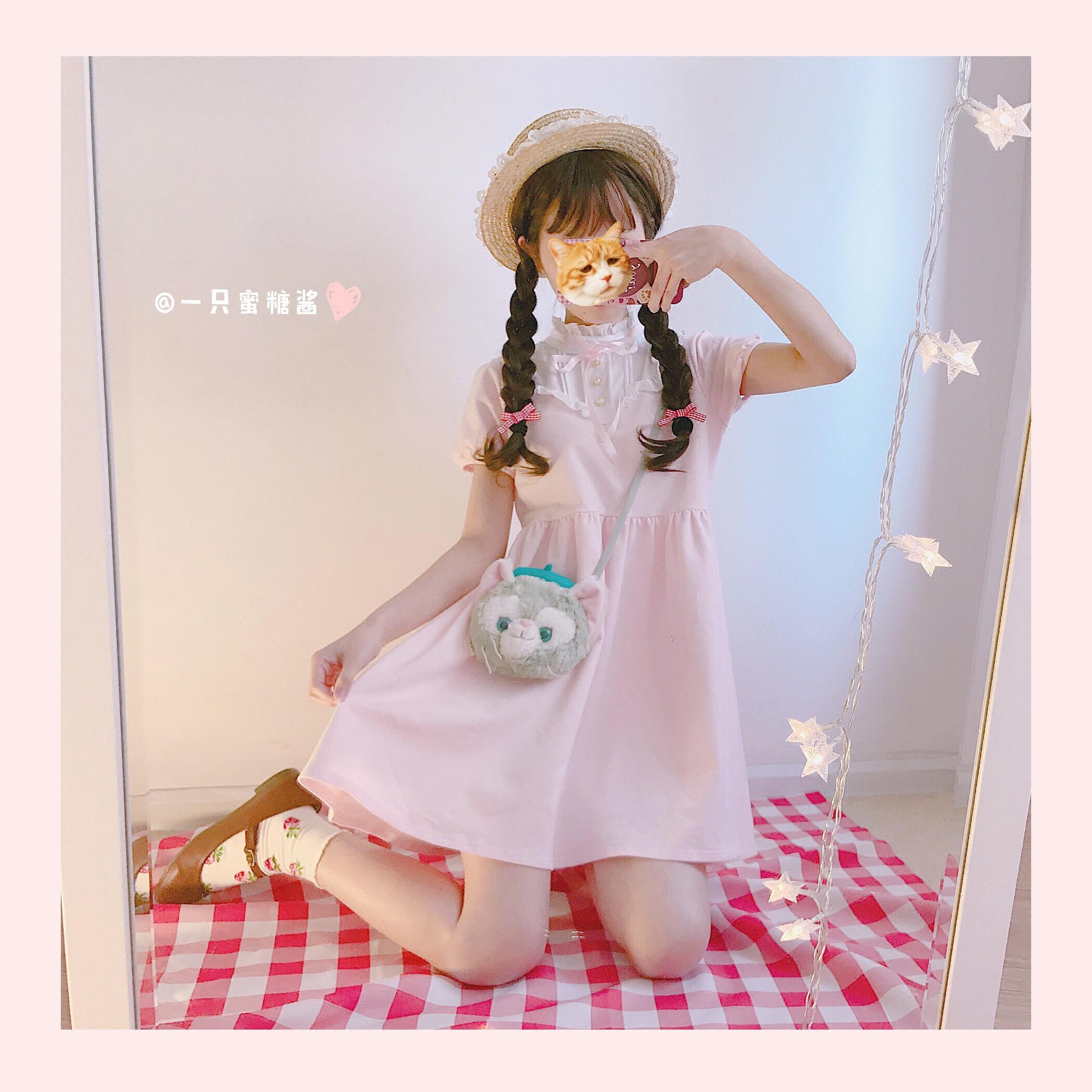 【清仓】洛丽塔敲可爱的花边领木耳边软妹日系少女短袖连衣裙