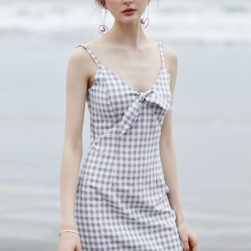M Queen独立制衣 夏新款复古格纹印花V领系带短裙休闲连衣裙8200