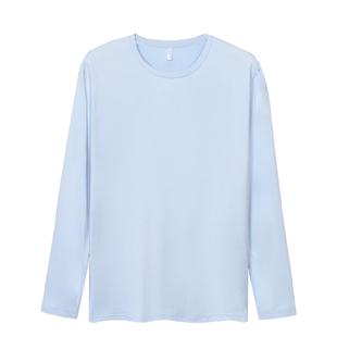 长袖t恤男春秋纯色胖子宽松打底衫
