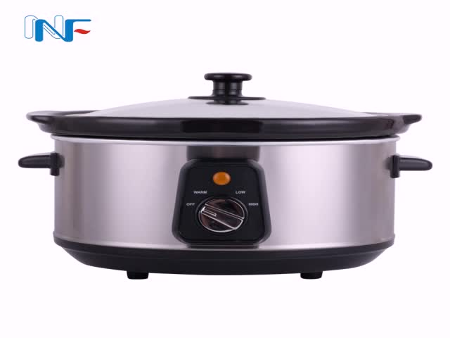 New Electric Multi 3.5l Double Stainless Steel Home Premium Removable Oval Ceramic Inner Bowl Right Size Multi-Quart Slow Cooker