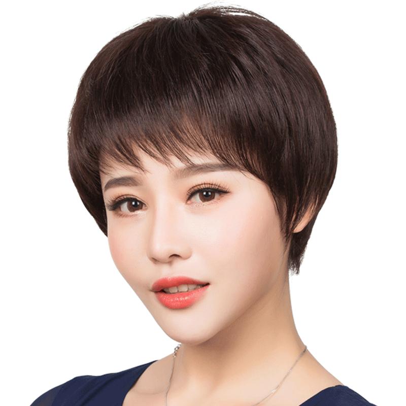一枝花假发女短发真人发丝妈妈短直发女士中老年圆脸真发发型自然图片
