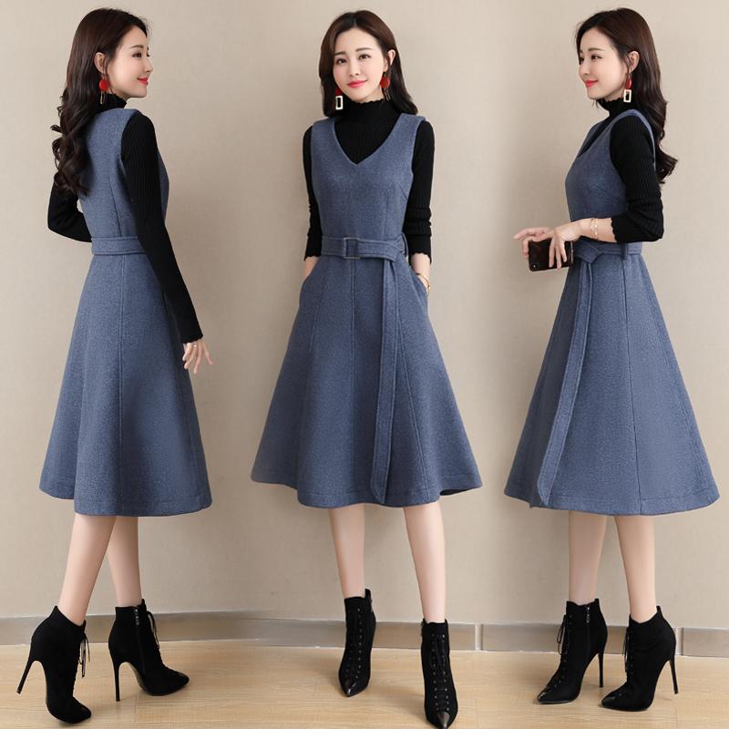 秋冬款毛呢背心裙两件套女2018新款韩版气质中长款加厚冬裙连衣裙