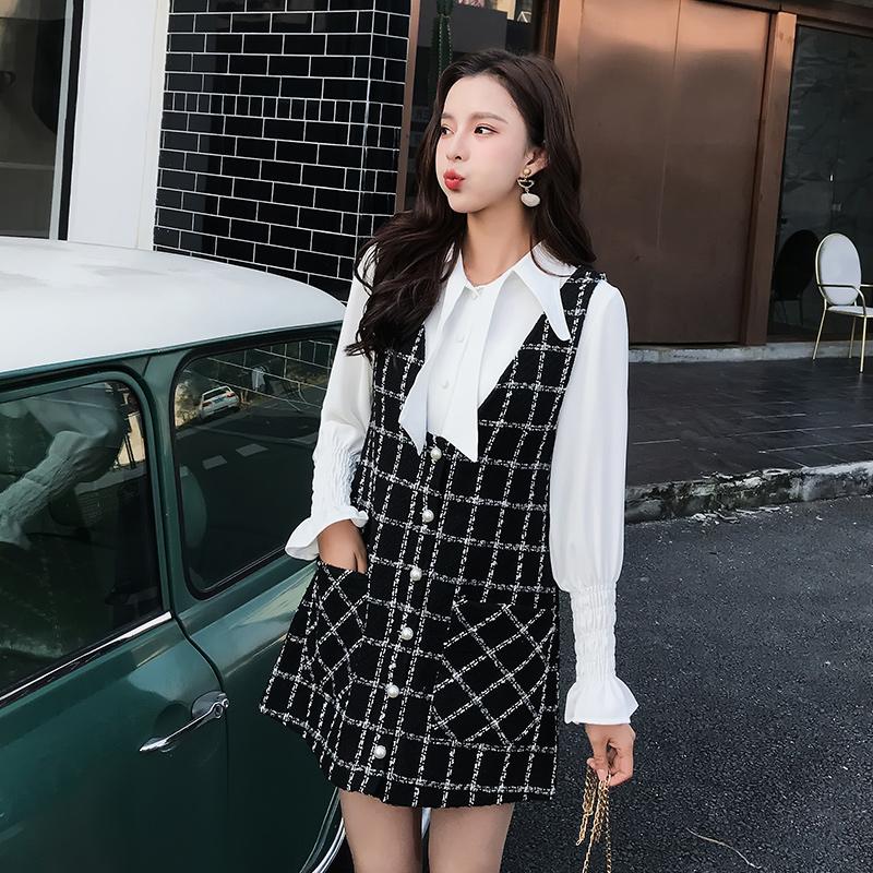 秋季女套装2018新款名媛小香风chic衬衫上衣毛呢背心连衣裙两件套