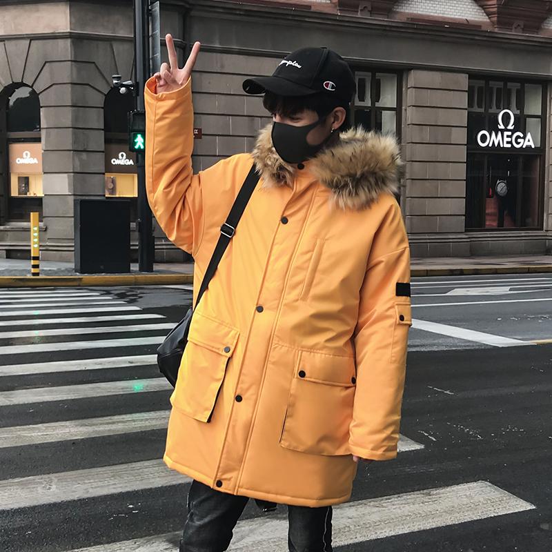 加厚棉衣男士外套冬季2018新款韩版潮个性潮男宽松连帽棉服中长款