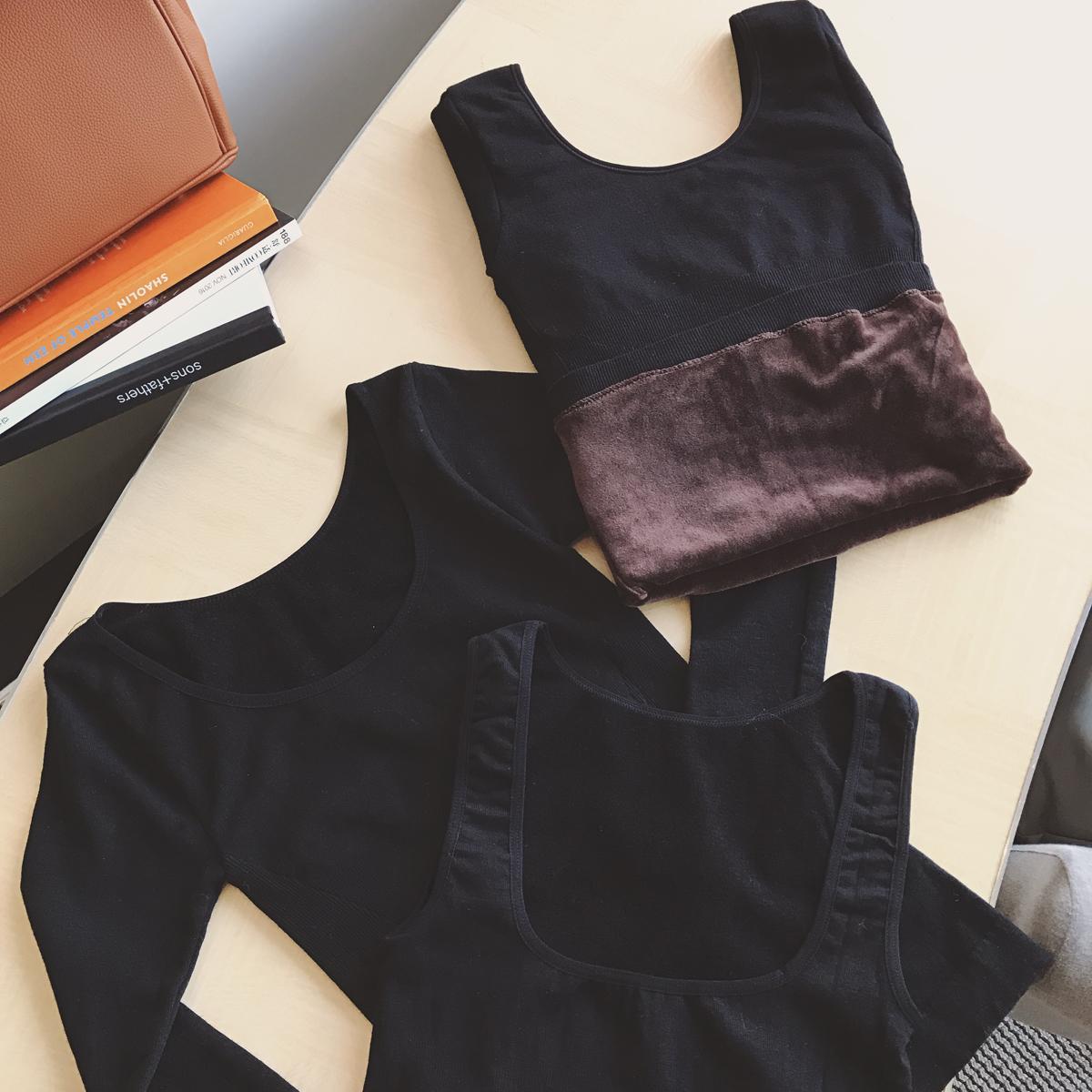 小番茄定制 冬季新款背心圆领加绒三款黑色打底衫chic内搭上衣