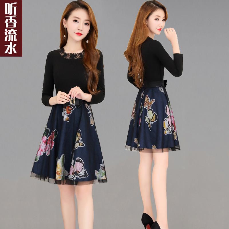 春季印花流行裙子女2019新款时尚修身中长款长袖春秋假两件连衣裙