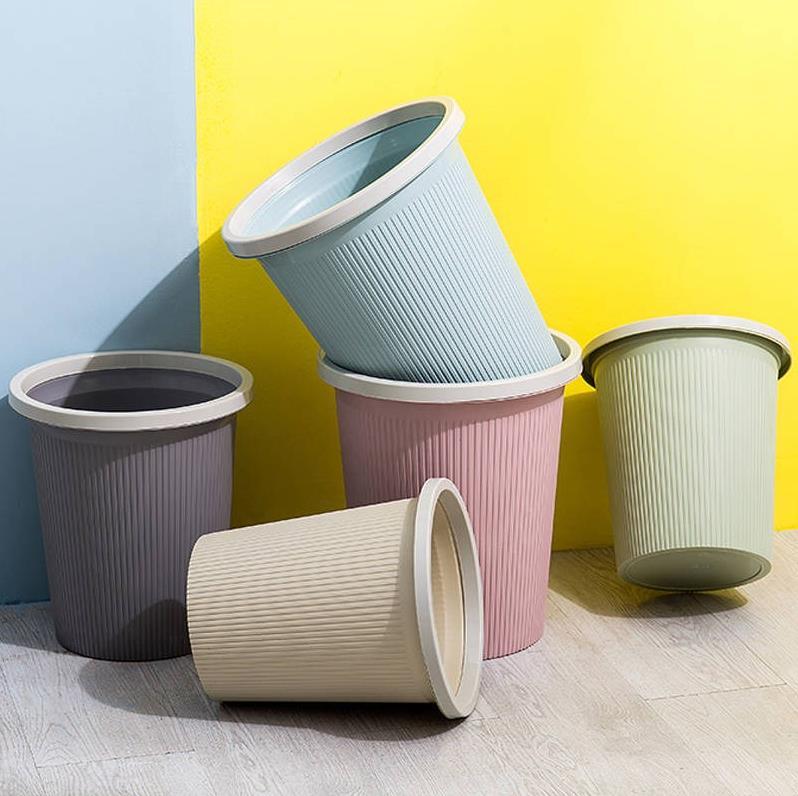 欧式简约垃圾桶家用客厅大号无盖塑料压圈卧室厨房卫生间可爱小筒