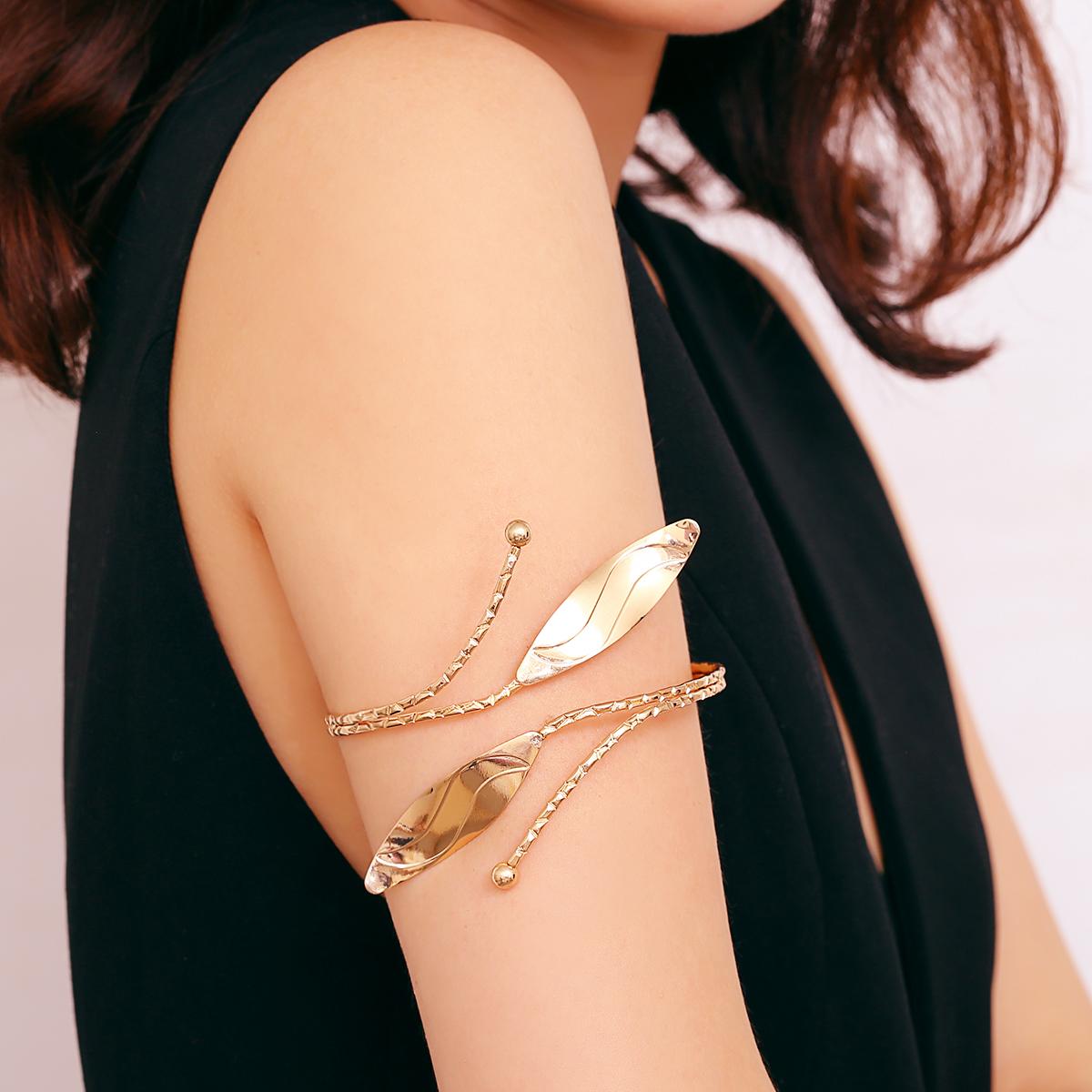 立体叶子球臂环女欧美简约个性开口可调节大臂