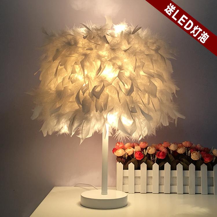 欧式时尚羽毛落地台灯结婚庆宜家装饰灯具卧室床头创意客厅小灯饰-奥灯灯饰