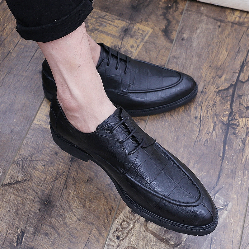 Summer men's business casual shoes crocodile men's shoes British fashion trend lace up leather fashion shoes men
