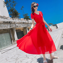短袖连衣裙女三亚红色收ai8显瘦中长zg游浪漫日光雪纺沙滩裙