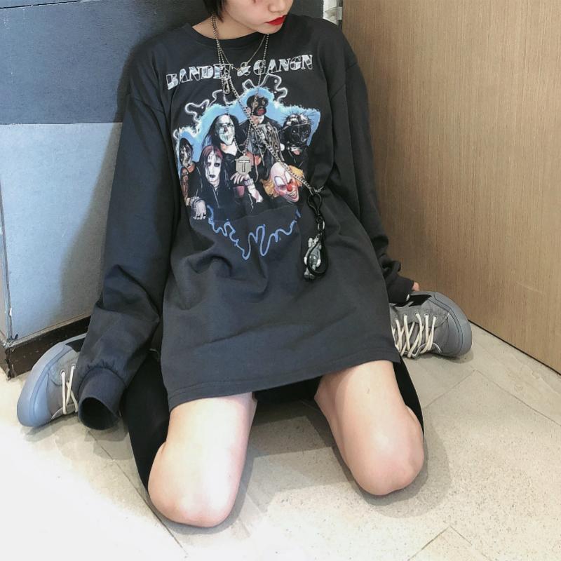 BANDITK国潮牌乐队做旧复古长袖暗黑男女情侣宽松嘻哈街舞卫衣T恤