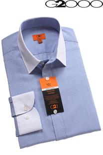 男装g2000衬衫男长袖修身免烫防皱 拼色蓝条纹白领slim fit 款